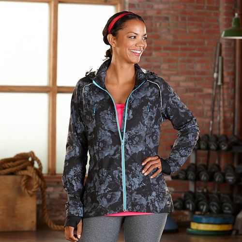 Womens Road Runner Sports Zip To It Printed Running Jackets - Grey Mist/Rose L