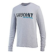 Mens Saucony FYS Graphic Long Sleeve Technical Tops
