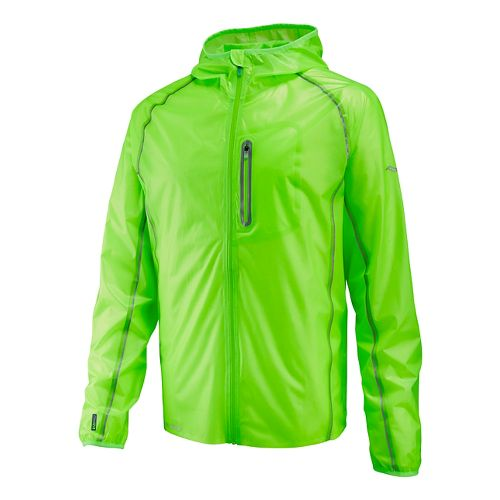 Mens Saucony Exo Jacket Warm Up Hooded Jackets - Vizipro Slime M