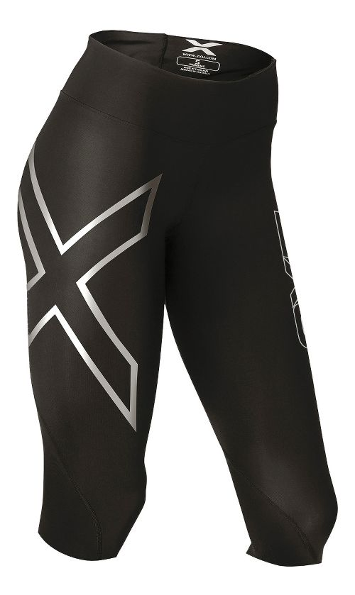 Womens 2XU Hyoptik Mid-Rise Thermal Compression Full Length Tights - Black/Silver S