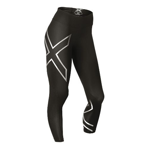 Womens 2XU Hyoptik Thermal Mid-Rise Compression 3/4  Capri Tights - Black/Silver XS
