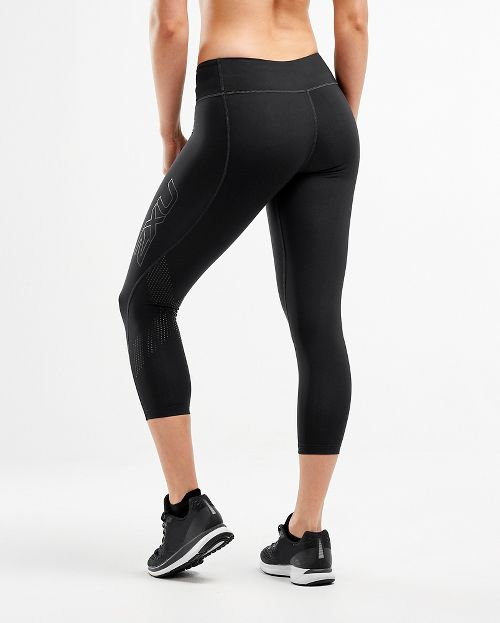 Womens 2XU Mid-Rise 7/8 Compression Tights & Leggings Pants - Black/Dotted Black M-T