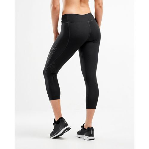 Womens 2XU Mid-Rise 7/8 Compression Tights & Leggings Pants - Black/Dotted Black M-R