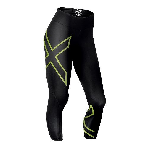 Womens 2XU Mid-Rise 7/8 Compression Tights & Leggings Pants - Black/Bright Green M-R