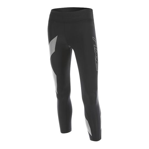 Womens 2XU Mid-Rise 7/8 Compression Tights & Leggings Pants - Black/Striped White L-R