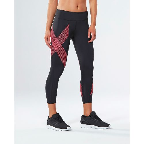 Womens 2XU Mid-Rise 7/8 Compression Tights & Leggings Pants - Black/Striped Pink S-R