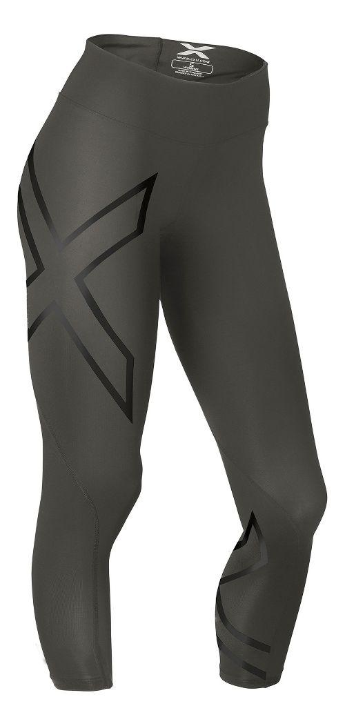 Womens 2XU Mid-Rise 7/8 Compression Tights & Leggings Pants - Steel/Black M