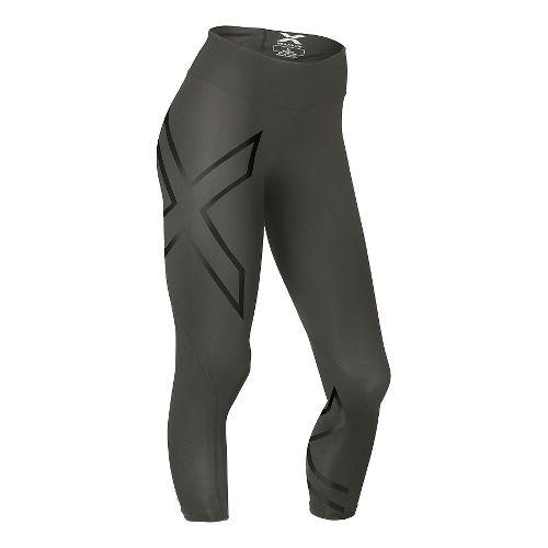 Womens 2XU Mid-Rise 7/8 Compression Tights & Leggings Pants - Steel/Black L-R