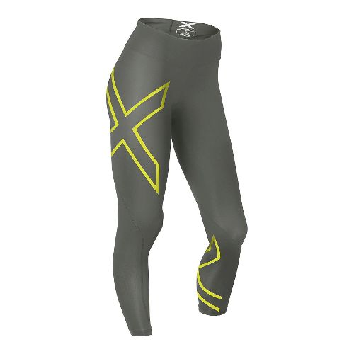 Womens 2XU Mid-Rise 7/8 Compression Tights & Leggings Pants - Slate/Lime Light XL-R