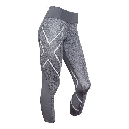Womens 2XU Mid-Rise 7/8 Compression Tights & Leggings Pants - Slate/Bone Print S-R
