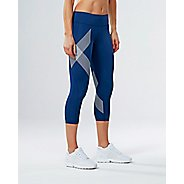 Womens 2XU Mid-Rise 7/8 Compression Tights & Leggings Pants - Blue/Striped White XL
