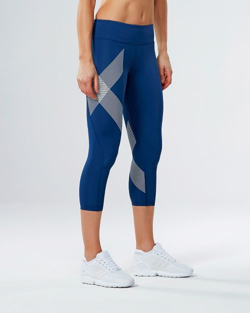 Womens 2XU Mid-Rise 7/8 Compression Tights & Leggings Pants - Blue/Striped White S