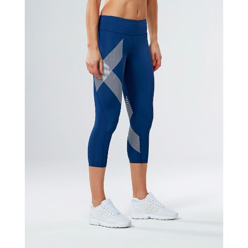 Womens 2XU Mid-Rise 7/8 Compression Tights & Leggings Pants - Blue/Striped White L