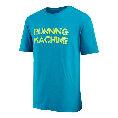Mens Saucony Running Machine Graphic Short Sleeve Technical Tops - Deep Water XXL
