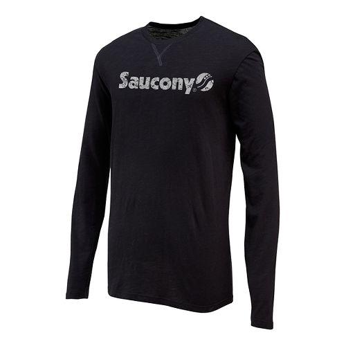 Mens Saucony Originals Graphic Long Sleeve Technical Tops - Black XL
