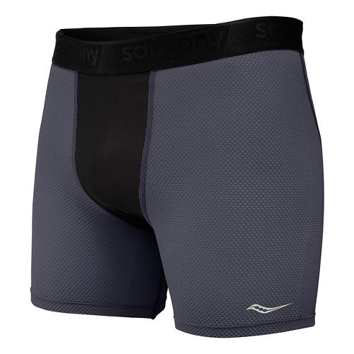Mens Saucony Isofit Compression Brief Underwear Bottoms - Carbon M