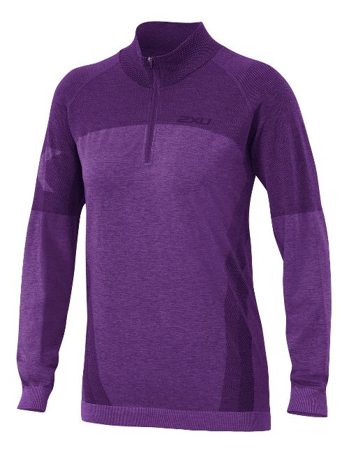 Womens 2XU Movement Engineered 1/4 Zip Long Sleeve Technical Tops - Vivid Violet Marle S/M