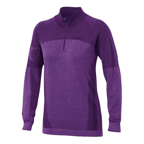 Womens 2XU Movement Engineered 1/4 Zip Long Sleeve Technical Tops - Vivid Violet Marle S/M ...