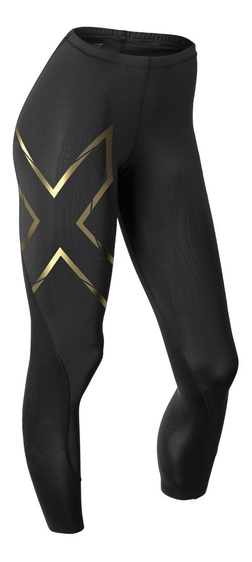 Womens 2XU Elite MCS Thermal Compression Tights & Leggings Tights - Black/Gold XS