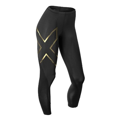 Womens 2XU Elite MCS Thermal Compression Tights & Leggings Tights - Black/Gold L