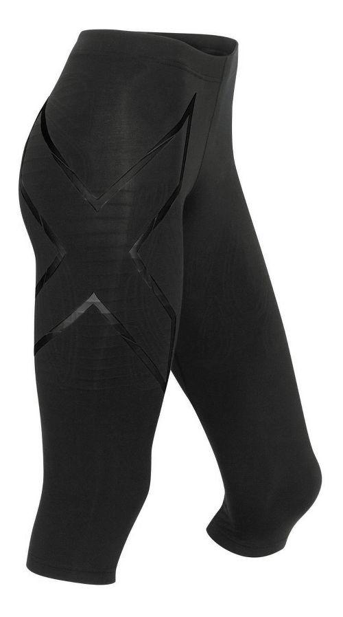 Womens 2XU Elite MCS Thermal Compression 3/4 Tights Capris Pants - Black/Nero S