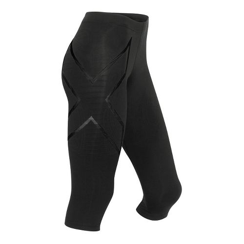 Womens 2XU Elite MCS Thermal Compression 3/4 Tights Capris Pants - Black/Nero M