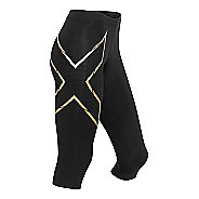 Womens 2XU Elite MCS Thermal Compression 3/4 Tights Capris Pants - Black/Gold L
