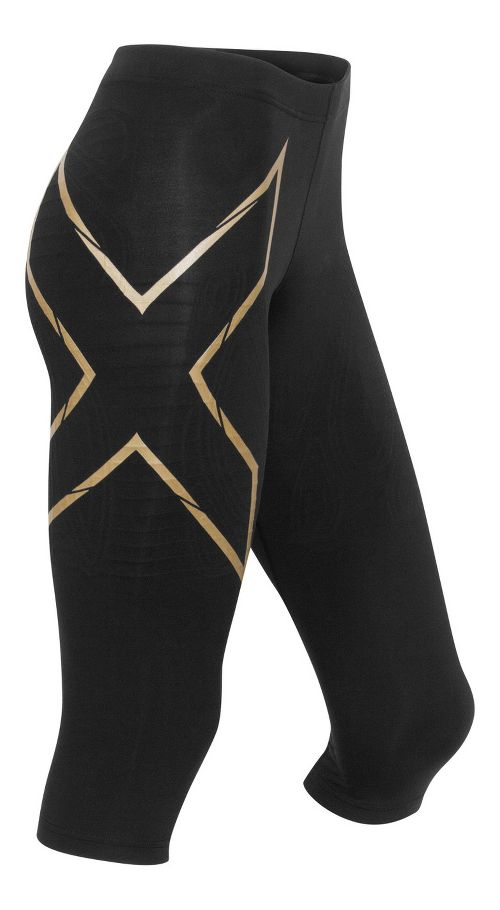 Womens 2XU Elite MCS Thermal Compression 3/4 Tights Capris Pants - Black/Gold XS