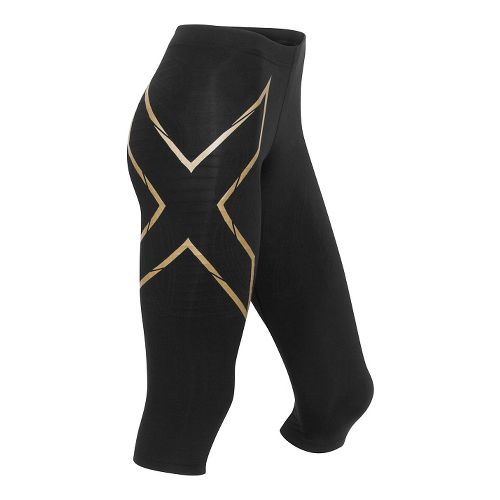 Womens 2XU Elite MCS Thermal Compression 3/4 Tights Capris Pants - Black/Gold M