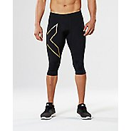 Mens 2XU Elite MCS Thermal Compression 3/4 Cold Weather Tights - Black/Gold M