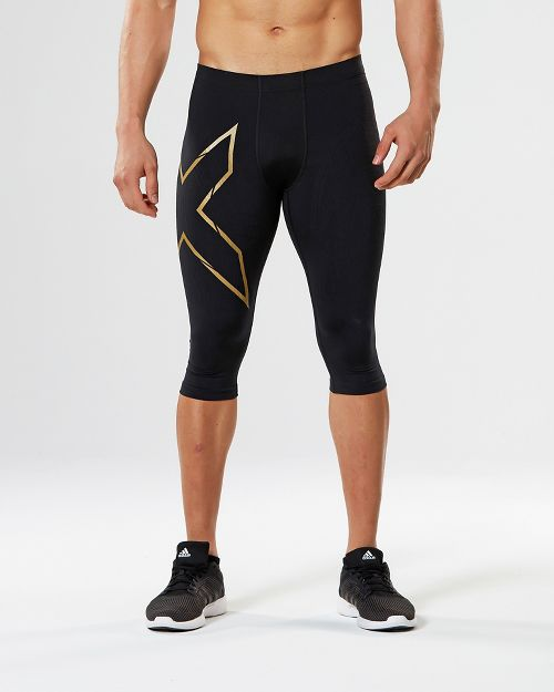 Mens 2XU Elite MCS Thermal Compression 3/4 Capri Tights - Black/Gold S-R
