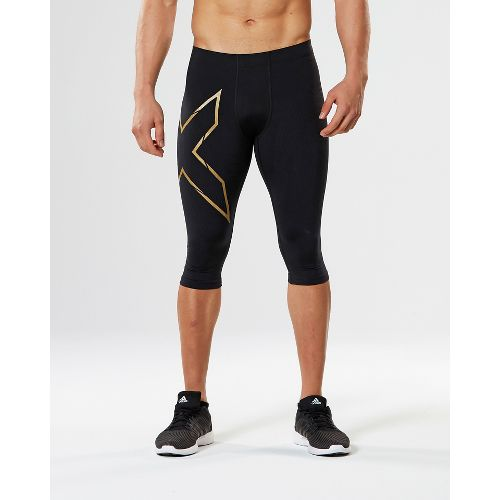 Mens 2XU Elite MCS Thermal Compression 3/4 Capri Tights - Black/Gold M-R