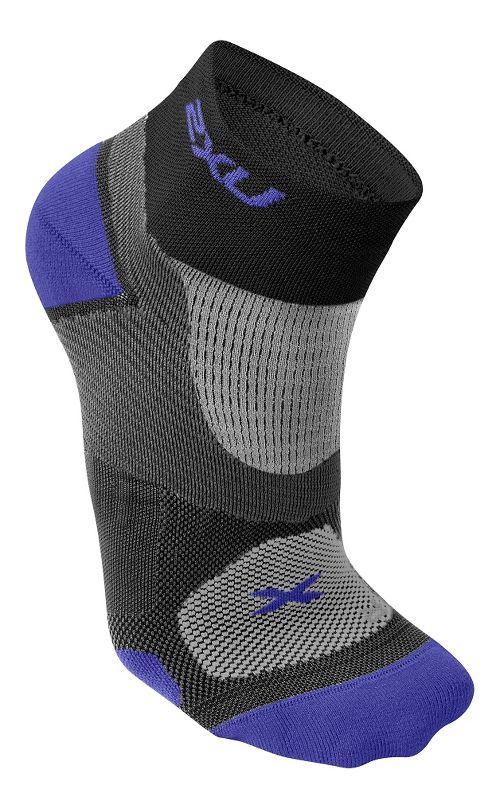 Womens 2XU Elite Training Sock Injury Recovery - Black/Purple L