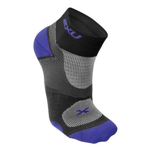 Womens 2XU Elite Training Sock Injury Recovery - Black/Purple S