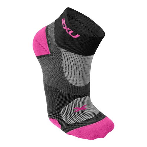 Womens 2XU Elite Training Sock Injury Recovery - Black/Fluro Pink S