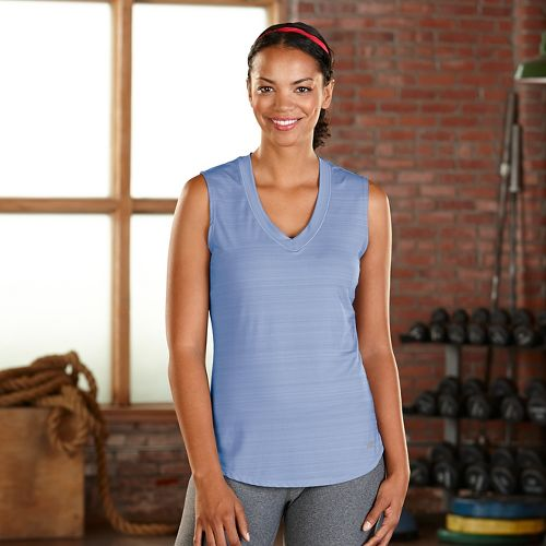 Womens Road Runner Sports Finish First Sleeveless & Tank Technical Tops - Sky Light L ...