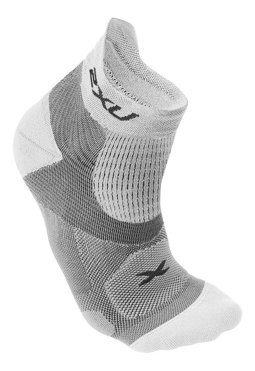 Mens 2XU Elite Racing Sock Injury Recovery - White/White S