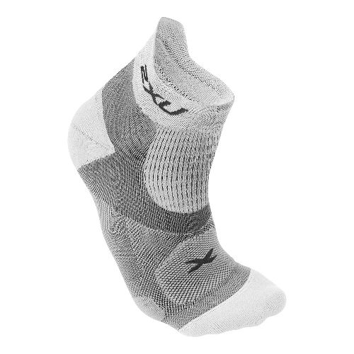 Mens 2XU Elite Racing Sock Injury Recovery - White/White L