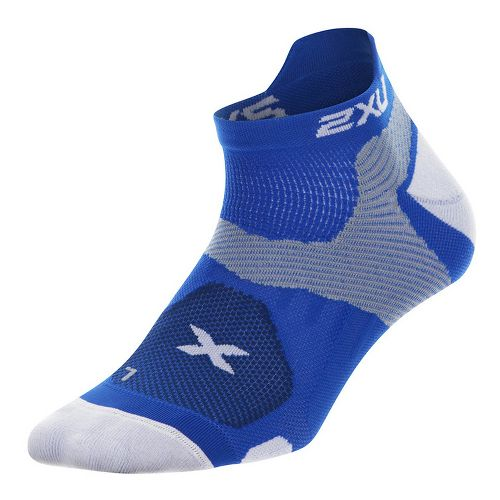 Mens 2XU Elite Racing Sock Injury Recovery - Cobalt Blue/White S