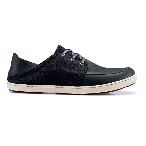 Mens OluKai Nohea Lace Leather Casual Shoe - Black/Black 8