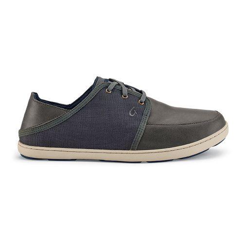 Mens OluKai Nohea Lace Leather Casual Shoe - Charcoal/Dark Shadow 8