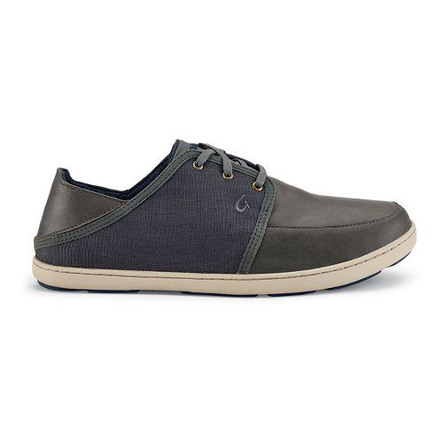 Mens OluKai Nohea Lace Leather Casual Shoe - Black/Black 7