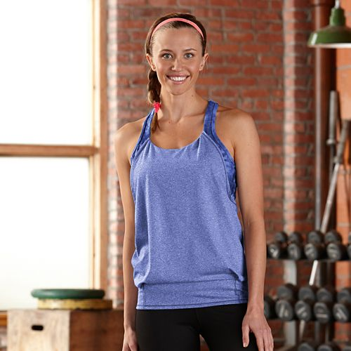 Womens R-Gear Earn It Bra Sleeveless & Tank Technical Tops - Heather Sapphire L