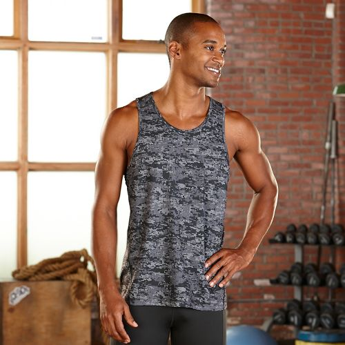 Mens R-Gear Runners High Printed Singlet Sleeveless & Tank Technical Tops - Steel Camo S ...