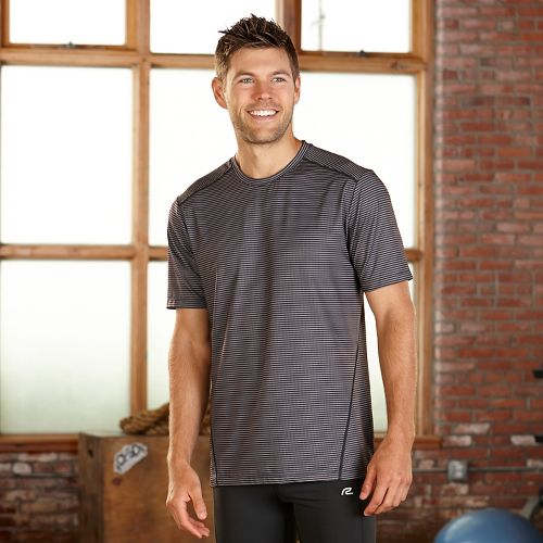 Mens R-Gear Runners High Printed Short Sleeve Technical Tops - Black Stripe L
