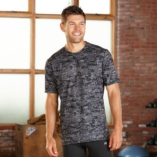 Mens R-Gear Runners High Printed Short Sleeve Technical Tops - Steel Camo M