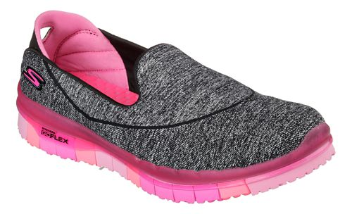 Womens Skechers GO Flex Walk Casual Shoe - Black/Hot Pink 6.5