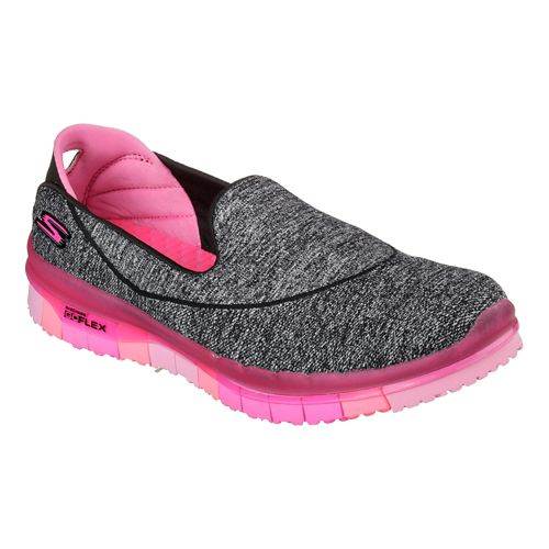 Womens Skechers GO Flex Walk Casual Shoe - Black/Hot Pink 9.5