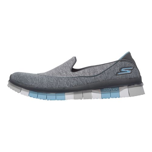 Womens Skechers GO Flex Walk Casual Shoe - Charcoal/Blue 9.5