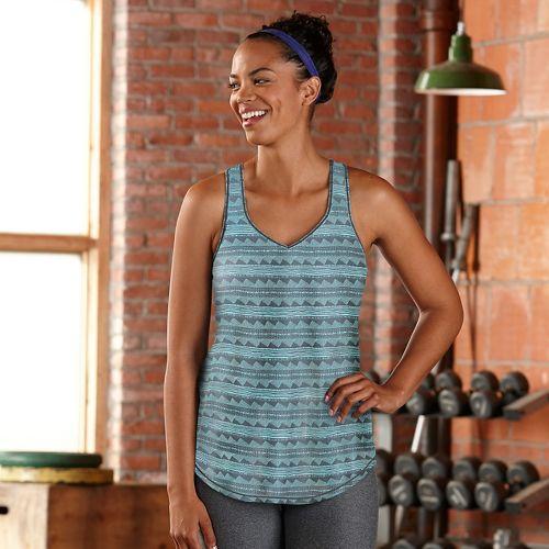 Womens Road Runner Sports Shades of Grey Printed Sleeveless & Tank Technical Tops - Aqua ...